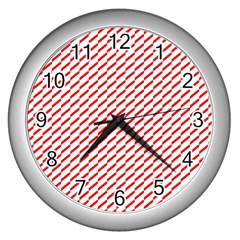 Pattern Red White Background Wall Clocks (silver)  by Simbadda