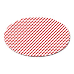 Pattern Red White Background Oval Magnet by Simbadda