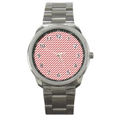 Pattern Red White Background Sport Metal Watch by Simbadda