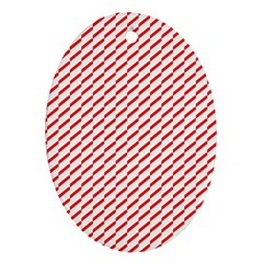 Pattern Red White Background Oval Ornament (two Sides) by Simbadda