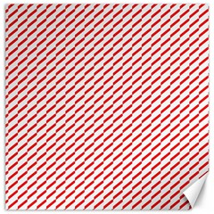 Pattern Red White Background Canvas 16  X 16   by Simbadda