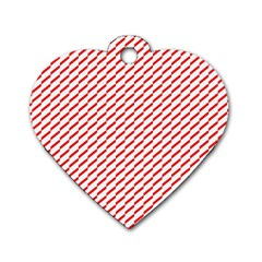 Pattern Red White Background Dog Tag Heart (two Sides) by Simbadda