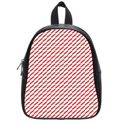 Pattern Red White Background School Bags (small)  by Simbadda