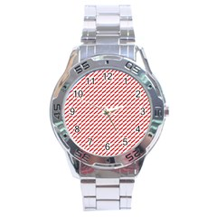 Pattern Red White Background Stainless Steel Analogue Watch by Simbadda