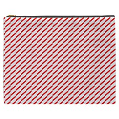 Pattern Red White Background Cosmetic Bag (xxxl)  by Simbadda