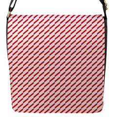 Pattern Red White Background Flap Messenger Bag (s) by Simbadda