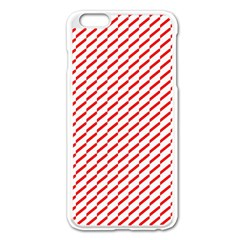 Pattern Red White Background Apple Iphone 6 Plus/6s Plus Enamel White Case by Simbadda