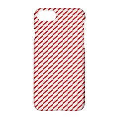 Pattern Red White Background Apple Iphone 7 Hardshell Case by Simbadda