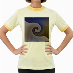 Logo Wave Design Abstract Women s Fitted Ringer T Shirts by Simbadda