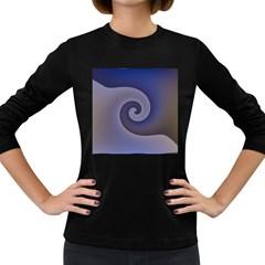 Logo Wave Design Abstract Women s Long Sleeve Dark T Shirts by Simbadda