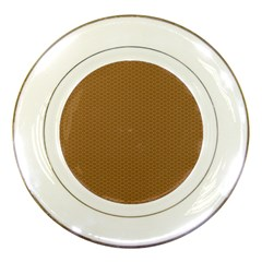 Pattern Honeycomb Pattern Brown Porcelain Plates by Simbadda