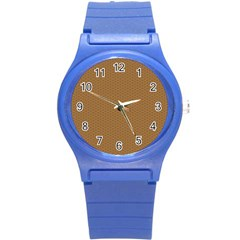 Pattern Honeycomb Pattern Brown Round Plastic Sport Watch (s) by Simbadda
