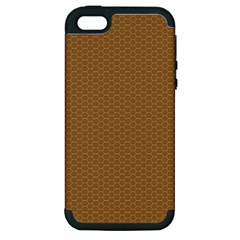 Pattern Honeycomb Pattern Brown Apple Iphone 5 Hardshell Case (pc+silicone) by Simbadda
