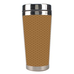 Pattern Honeycomb Pattern Brown Stainless Steel Travel Tumblers by Simbadda