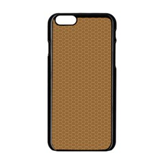 Pattern Honeycomb Pattern Brown Apple Iphone 6/6s Black Enamel Case by Simbadda