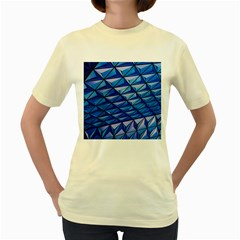 Lines Geometry Architecture Texture Women s Yellow T Shirt by Simbadda