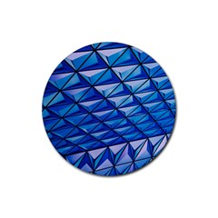 Lines Geometry Architecture Texture Rubber Round Coaster (4 Pack)  by Simbadda