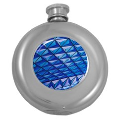 Lines Geometry Architecture Texture Round Hip Flask (5 Oz) by Simbadda