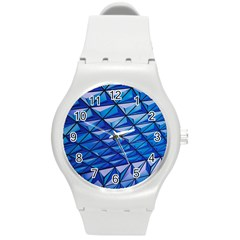 Lines Geometry Architecture Texture Round Plastic Sport Watch (m) by Simbadda
