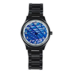 Lines Geometry Architecture Texture Stainless Steel Round Watch by Simbadda