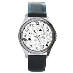 Furniture Black Decor Pattern Round Metal Watch by Simbadda