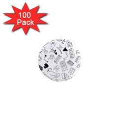 Furniture Black Decor Pattern 1  Mini Magnets (100 Pack)  by Simbadda