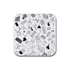 Furniture Black Decor Pattern Rubber Square Coaster (4 Pack)  by Simbadda