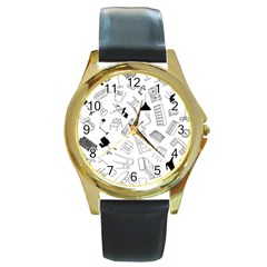 Furniture Black Decor Pattern Round Gold Metal Watch