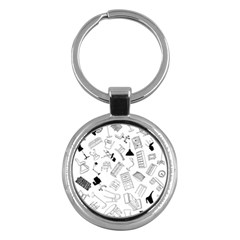 Furniture Black Decor Pattern Key Chains (round)  by Simbadda