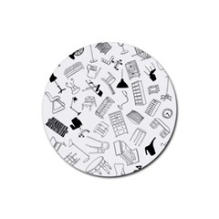 Furniture Black Decor Pattern Rubber Coaster (round)  by Simbadda