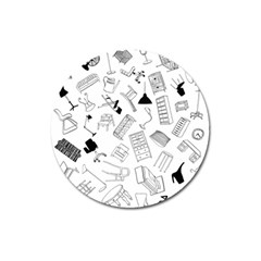 Furniture Black Decor Pattern Magnet 3  (round) by Simbadda
