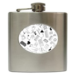 Furniture Black Decor Pattern Hip Flask (6 Oz) by Simbadda