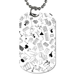 Furniture Black Decor Pattern Dog Tag (two Sides) by Simbadda