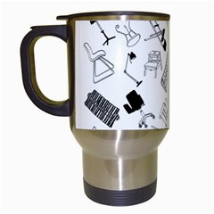 Furniture Black Decor Pattern Travel Mugs (white) by Simbadda