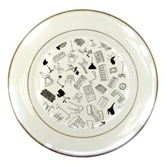 Furniture Black Decor Pattern Porcelain Plates by Simbadda
