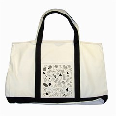 Furniture Black Decor Pattern Two Tone Tote Bag by Simbadda