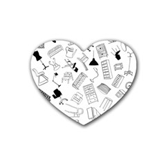 Furniture Black Decor Pattern Heart Coaster (4 Pack)  by Simbadda