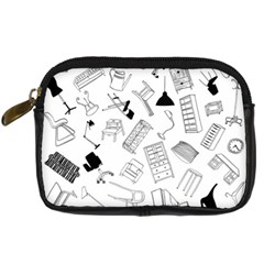 Furniture Black Decor Pattern Digital Camera Cases by Simbadda