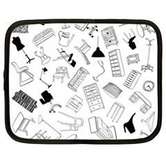 Furniture Black Decor Pattern Netbook Case (xl)  by Simbadda
