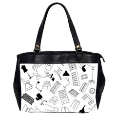Furniture Black Decor Pattern Office Handbags (2 Sides)  by Simbadda
