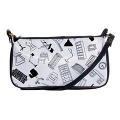 Furniture Black Decor Pattern Shoulder Clutch Bags by Simbadda