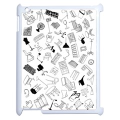 Furniture Black Decor Pattern Apple Ipad 2 Case (white) by Simbadda