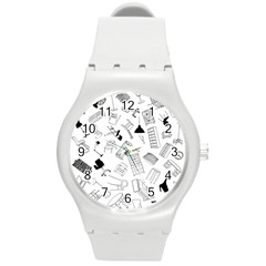Furniture Black Decor Pattern Round Plastic Sport Watch (m) by Simbadda