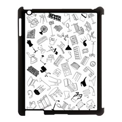 Furniture Black Decor Pattern Apple Ipad 3/4 Case (black) by Simbadda
