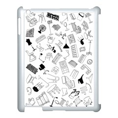 Furniture Black Decor Pattern Apple Ipad 3/4 Case (white) by Simbadda
