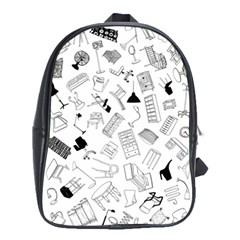 Furniture Black Decor Pattern School Bags (xl)  by Simbadda