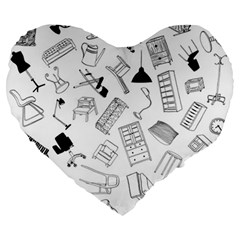 Furniture Black Decor Pattern Large 19  Premium Heart Shape Cushions by Simbadda