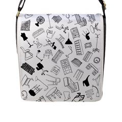 Furniture Black Decor Pattern Flap Messenger Bag (l)  by Simbadda