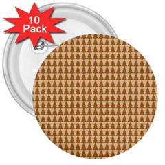 Pattern Gingerbread Brown 3  Buttons (10 Pack)  by Simbadda