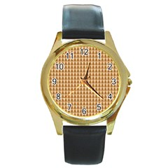 Pattern Gingerbread Brown Round Gold Metal Watch by Simbadda